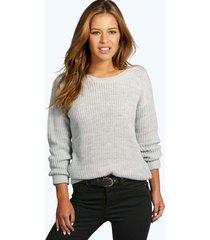 petite oversized sweater, silver