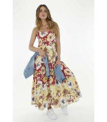 vestido para mujer tennis, largo y estampado de flores grandes en contraste