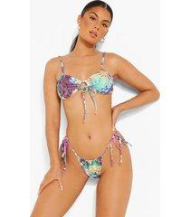 tropische korte bikini top met strik en bandjes, purple