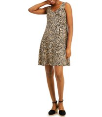 style & co petite printed crossback dress, created for macy's