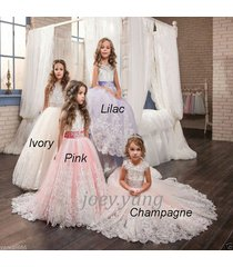 2017 lace flower girl dresses bridesmaid for wedding party first communion dress