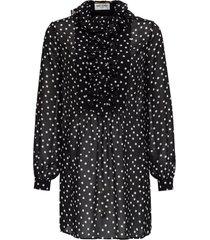 saint laurent silk georgette polka dot dress with volant jabot