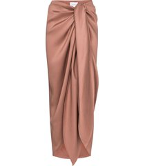 bondi born draped tie-front midi skirt - neutrals