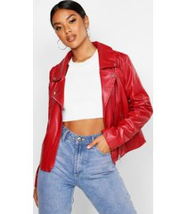 faux leather zip biker jacket, red