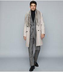 reiss lifton - faux fur wool blend overcoat in bone, mens, size xxl