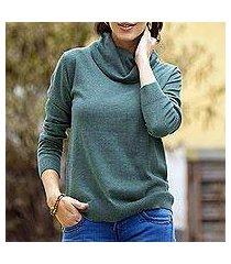 cotton blend pullover, 'viridian versatility' (peru)
