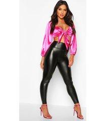 fleece lined premium leather look leggings, black