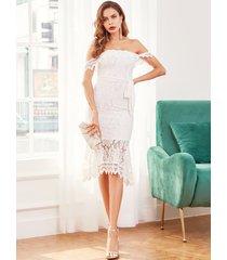 yoins vestido de novia de sirena con diseño de corbata y encaje blanco