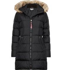 cl baffle down coat with fur gevoerde lange jas zwart tommy hilfiger