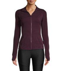 x by gottex women's solid raglan-sleeve jacket - merlot - size xs