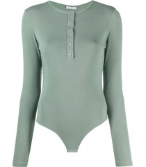12 storeez long-sleeved henley bodysuit - green