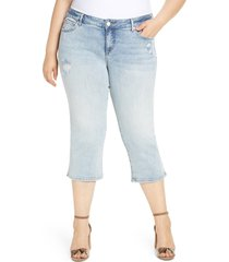 plus size women's slink jeans distressed crop straight leg jeans
