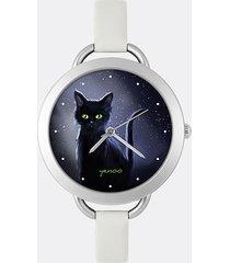 zegarek - czarny kot, noc - szary