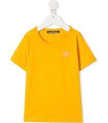 acne studios mini nash face motif t-shirt - yellow
