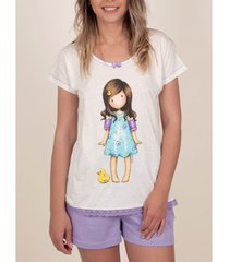 pyjama's / nachthemden admas pyjama kort t-shirt little duck santoro ivoor