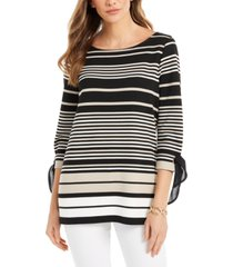 charter club petite striped tie-sleeve top, created for macy's