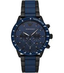 emporio armani men's blue & black ceramic bracelet watch 43mm
