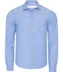 camisa masculina maquineta oxford vivada - azul