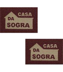 2 tapetes capacho decorativo 60x1,2m sogra - marrom - feminino - dafiti