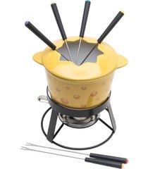 aparelho de fondue de cerâmica 10 peças com base de metal alice