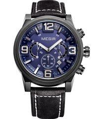reloj elegante megir 3010 negro azul impermeable japones de cuarzo