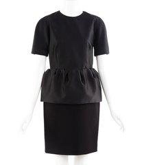 balenciaga black short sleeve peplum dress black sz: s