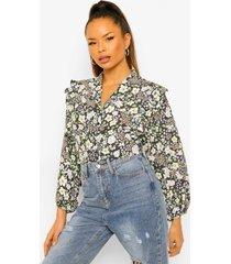 korte bloemenprint blouse met ballonmouwen, black