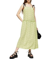 women's topshop floral print drop waist midi dress, size 8 us - green