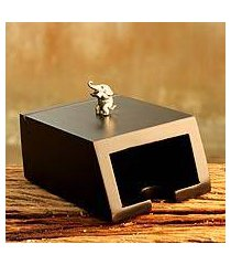 wood and pewter business card holder, 'playful elephant' (thailand)