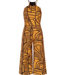 andrea marques wide leg cropped jumpsuit - yellow