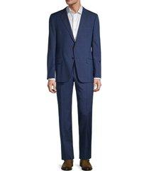 hickey freeman men's milburn iim series regular-fit windowpane wool suit - blue - size 42 r