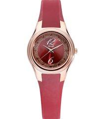 orologio solo tempo cinturino in silicone rosso e cassa acciaio dorato per donna
