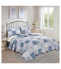 colcha king dole camesa evolution patchwork 260x280cm azul/branco