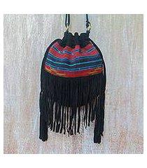 suede shoulder bag, 'idaman lady in black' (indonesia)