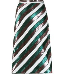 dvf diane von furstenberg sequin stripe skirt - green
