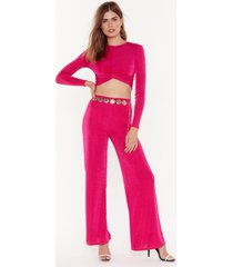 womens i'm knot kidding crop top and pants set - pink
