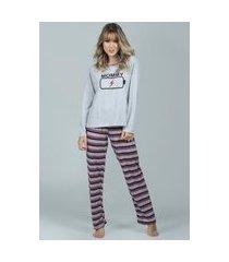 pijama feminino longo bella fiore modas inverno mommy cinza
