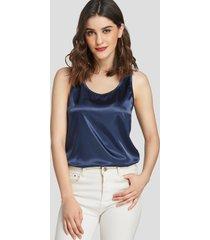 camiseta sin mangas redonda de satén azul marino cuello yoins basics