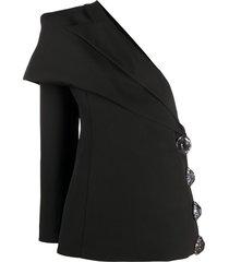 loulou off-shoulder embellished button blazer - black