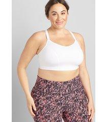 lane bryant women's livi wicking low-impact no-wire sport bra - strappy back 14/16 white