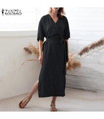 zanzea camisa de manga corta con cuello en v para mujer vestido largo túnicas vestido a media pierna tallas grandes -negro