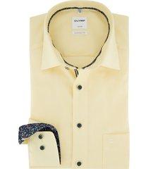 olymp comfort fit overhemd geel borstzak
