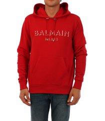 balmain 3d logo hoodie red