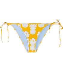 la doublej string graphic print bikini bottoms - yellow