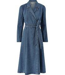 jeansklänning slfharper ls fray blue denim dress