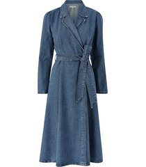 jeansklänning slfharper ls fray blue denim dress