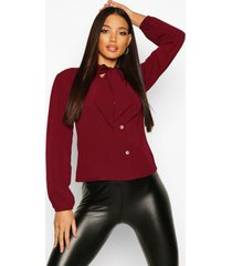 pussybow button through volume sleeve blouse, wine
