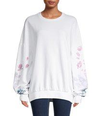 eleven paris women's graphic cotton oversized sweatshirt - white - size s