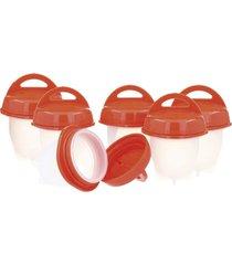 conjunto de 6 mini potes para cozinhar ovo em plástico / silicone - transparente