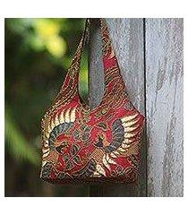 beaded cotton batik shoulder bag, 'red sawunggaling' (indonesia)